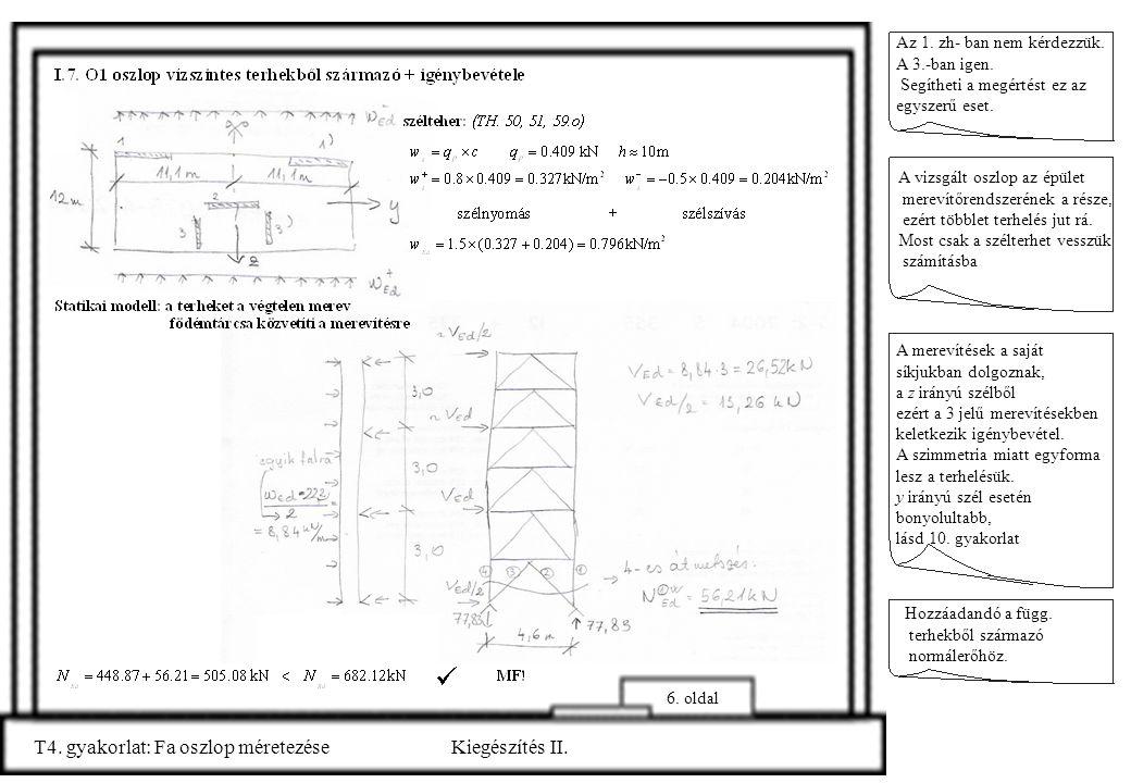 T4. gyakorlat: Fa oszlop méretezése Kiegészítés II.