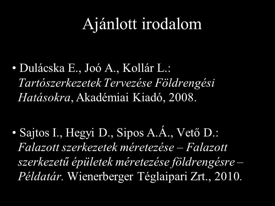 Ajánlott irodalom Dulácska E., Joó A., Kollár L.: Tartószerkezetek Tervezése Földrengési Hatásokra, Akadémiai Kiadó, 2008.