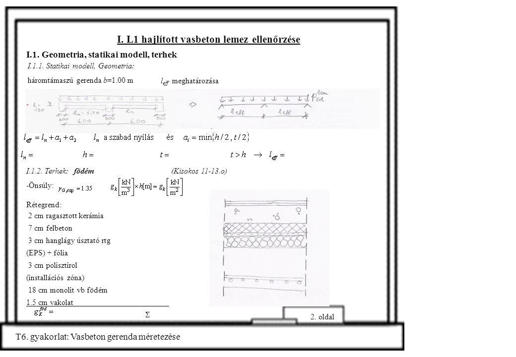 I. L1 hajlított vasbeton lemez ellenőrzése