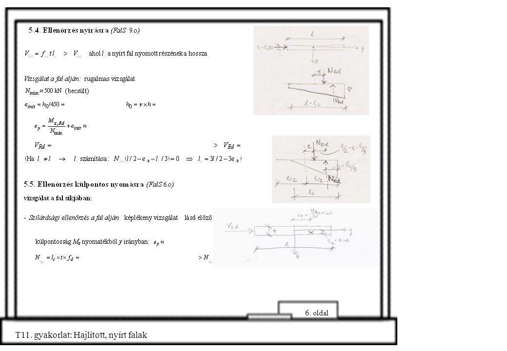 T11. gyakorlat: Hajlított, nyírt falak