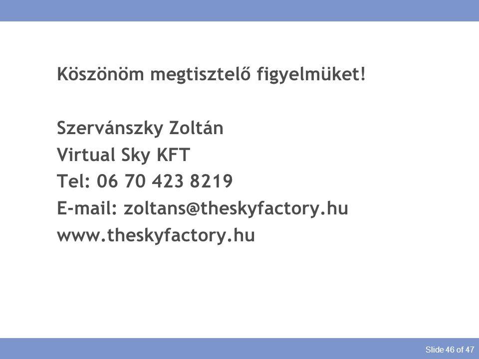 Köszönöm megtisztelő figyelmüket! Szervánszky Zoltán Virtual Sky KFT