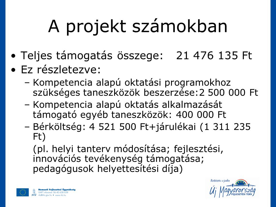 A projekt számokban Teljes támogatás összege: 21 476 135 Ft