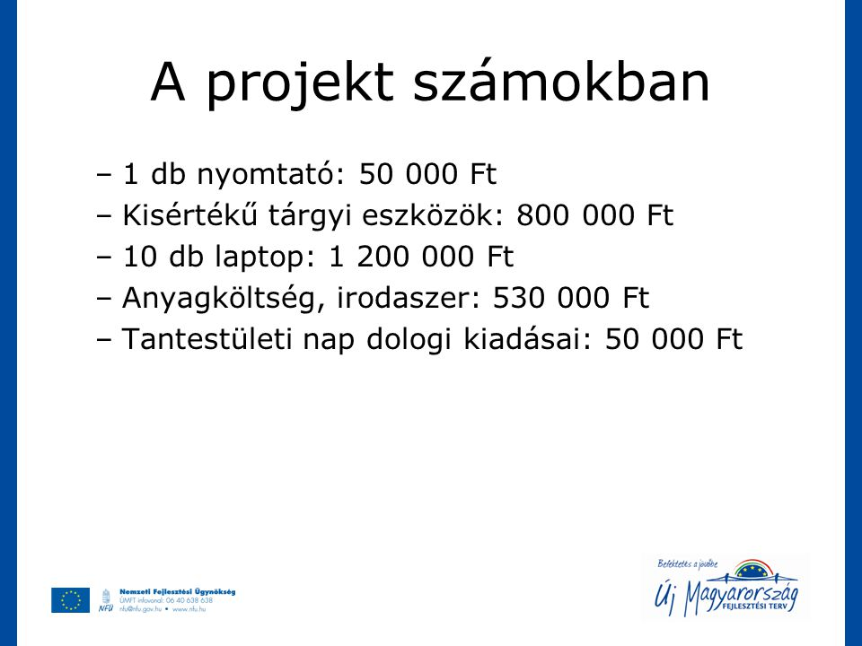 A projekt számokban 1 db nyomtató: 50 000 Ft