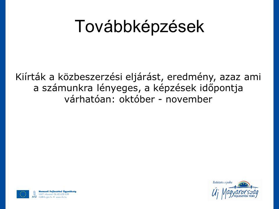 Továbbképzések Kiírták a közbeszerzési eljárást, eredmény, azaz ami a számunkra lényeges, a képzések időpontja várhatóan: október - november.