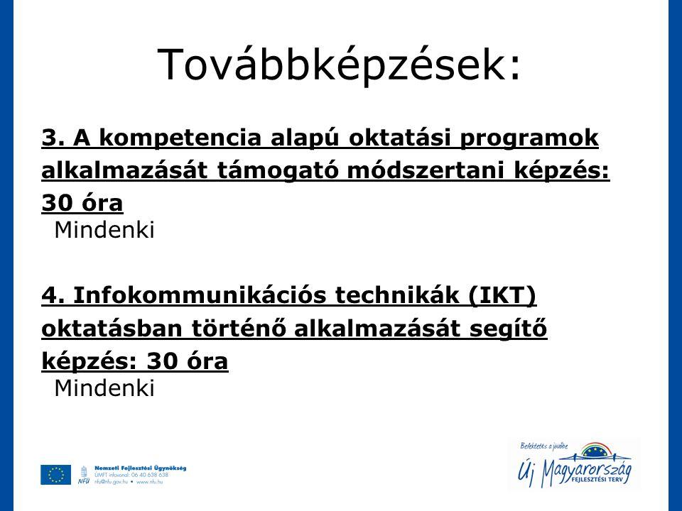 Továbbképzések: 3. A kompetencia alapú oktatási programok