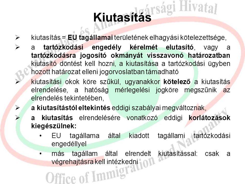 Kiutasítás kiutasítás = EU tagállamai területének elhagyási kötelezettsége,