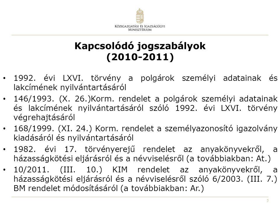 Kapcsolódó jogszabályok (2010-2011)