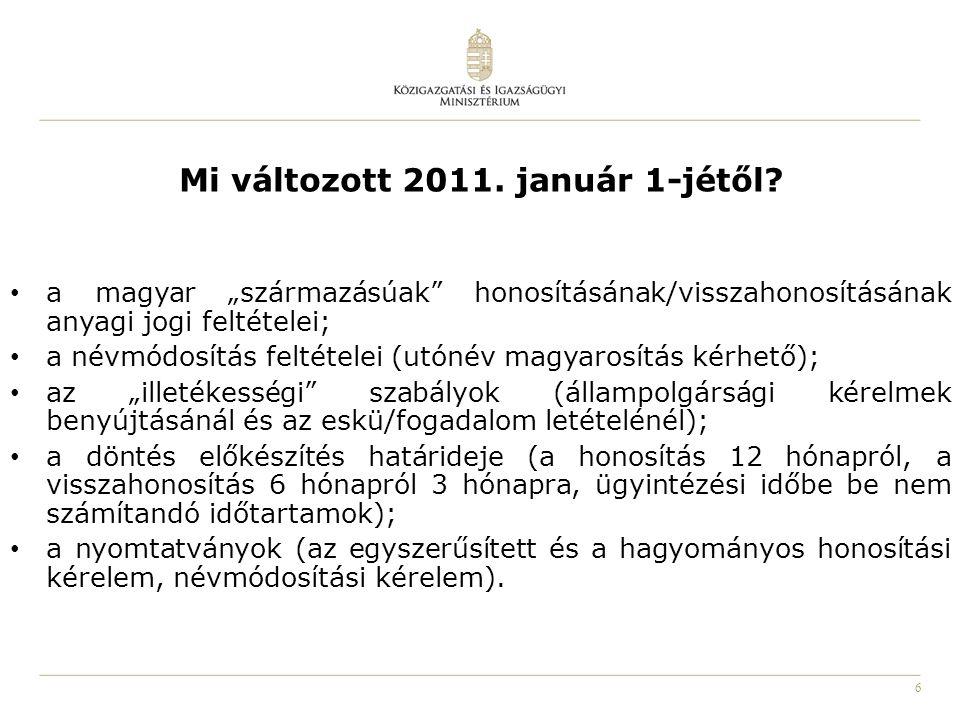 Mi változott 2011. január 1-jétől