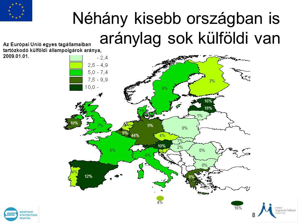 Néhány kisebb országban is aránylag sok külföldi van
