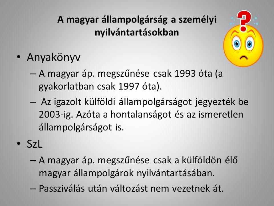 A magyar állampolgárság a személyi nyilvántartásokban