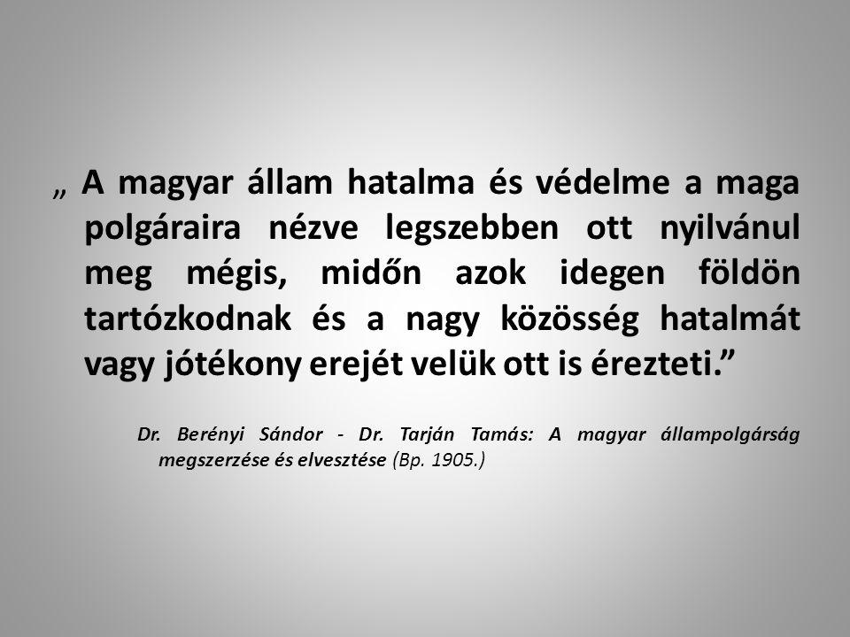""""""" A magyar állam hatalma és védelme a maga polgáraira nézve legszebben ott nyilvánul meg mégis, midőn azok idegen földön tartózkodnak és a nagy közösség hatalmát vagy jótékony erejét velük ott is érezteti."""
