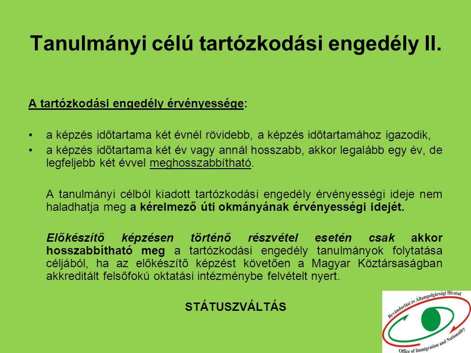 Tanulmányi célú tartózkodási engedély II.