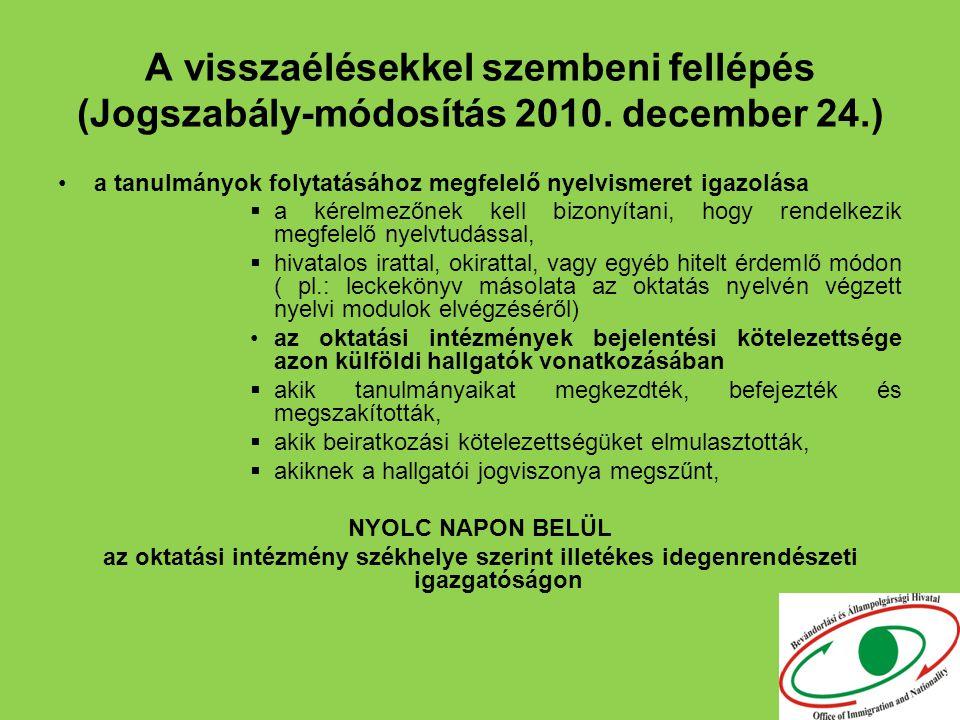 A visszaélésekkel szembeni fellépés (Jogszabály-módosítás 2010