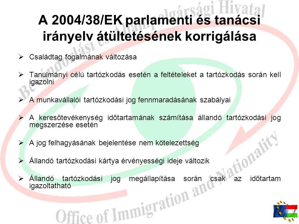 A 2004/38/EK parlamenti és tanácsi irányelv átültetésének korrigálása