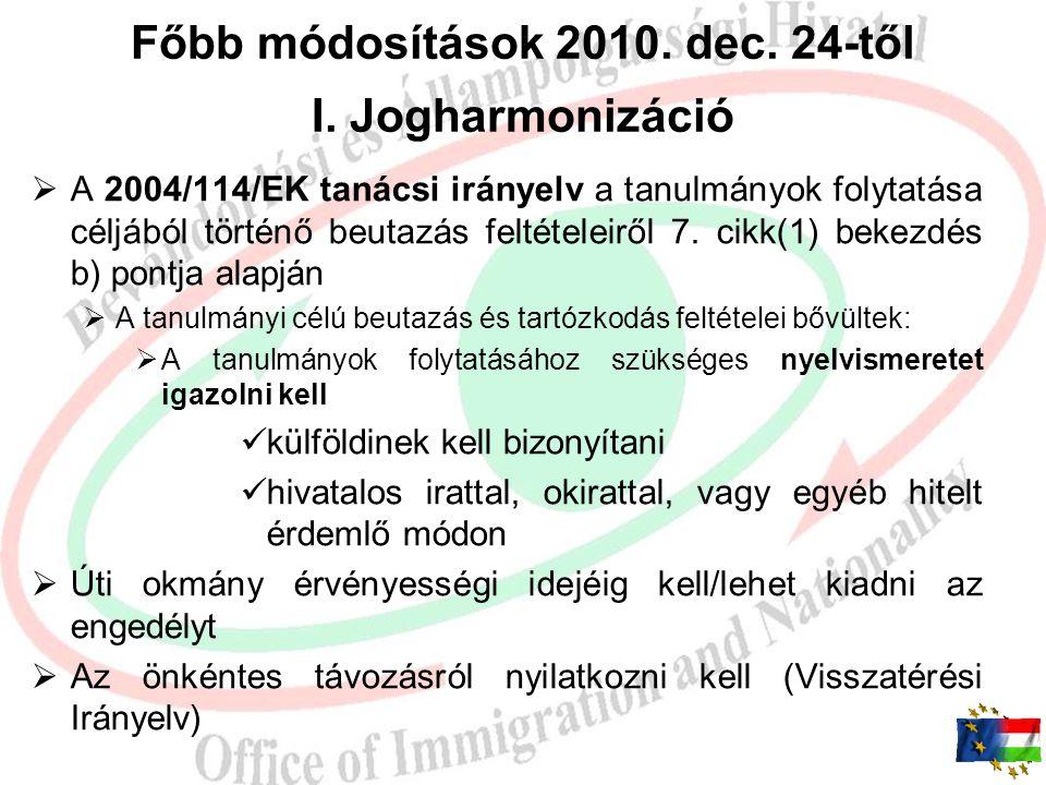 Főbb módosítások 2010. dec. 24-től I. Jogharmonizáció