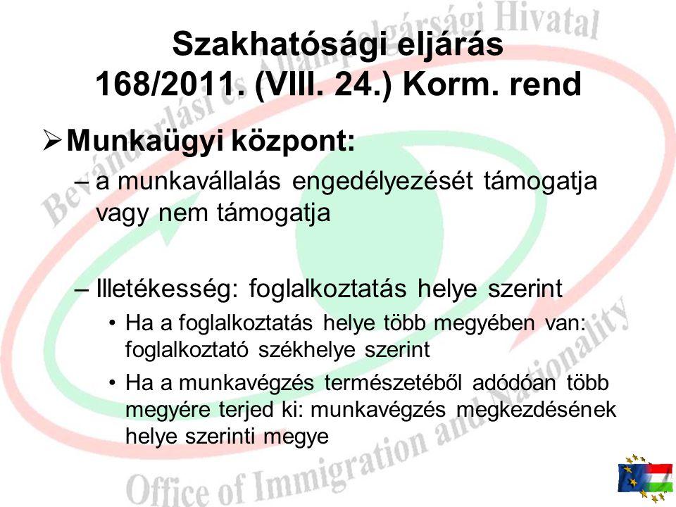 Szakhatósági eljárás 168/2011. (VIII. 24.) Korm. rend