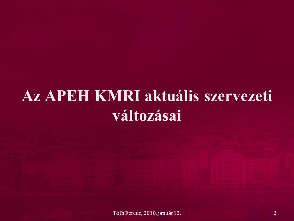 Az APEH KMRI aktuális szervezeti változásai