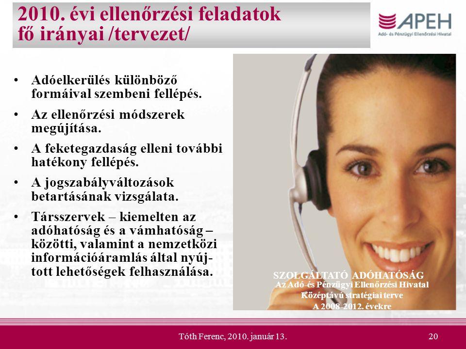 2010. évi ellenőrzési feladatok fő irányai /tervezet/