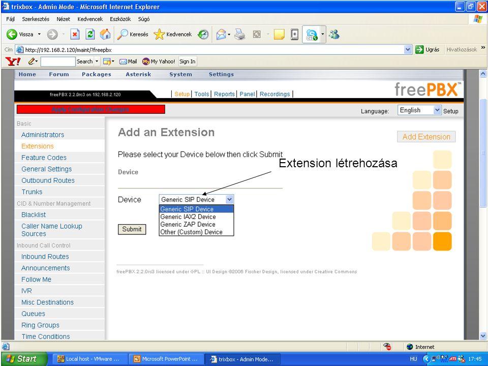 Extension létrehozása