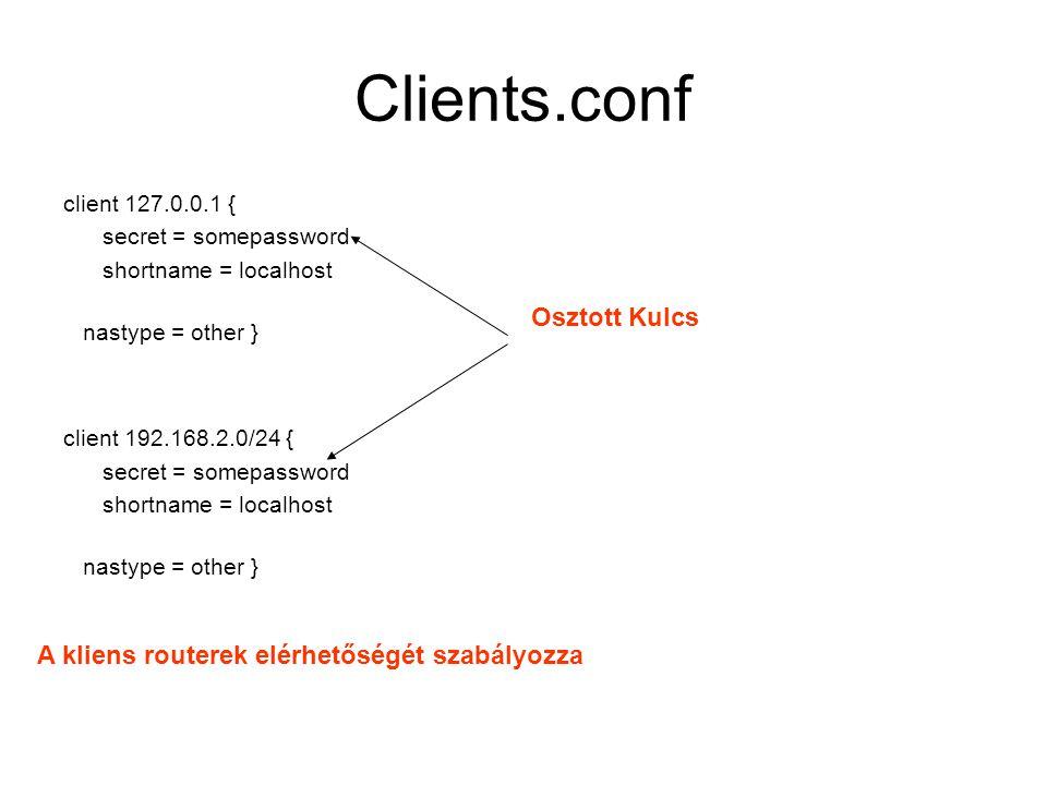Clients.conf Osztott Kulcs A kliens routerek elérhetőségét szabályozza