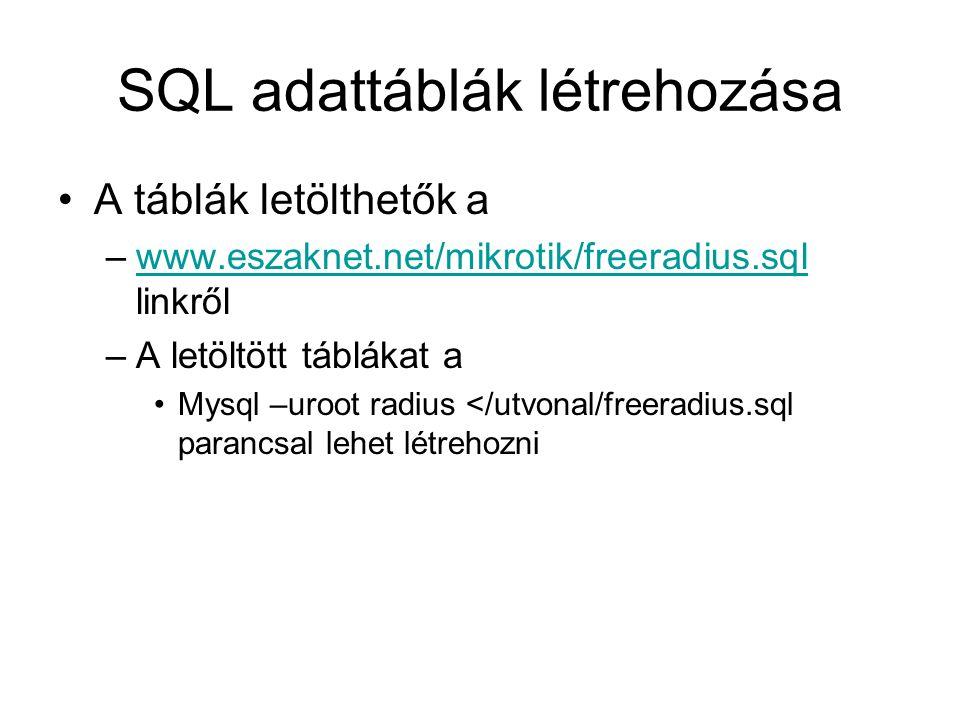 SQL adattáblák létrehozása