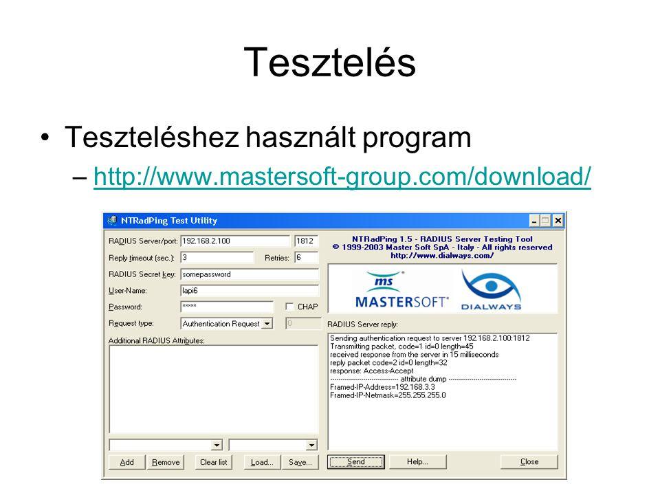 Tesztelés Teszteléshez használt program