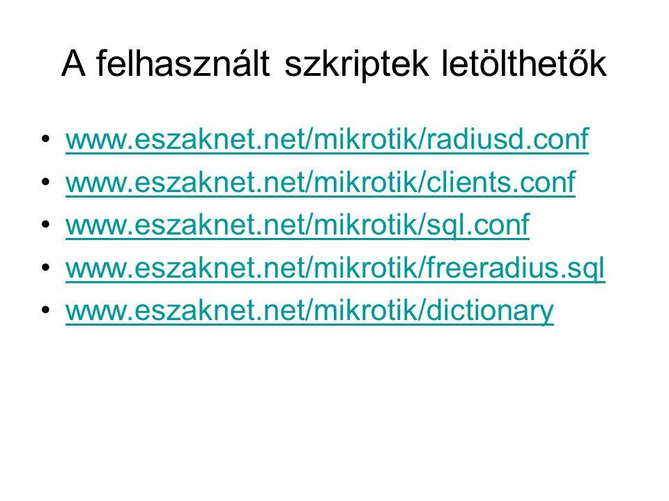 A felhasznált szkriptek letölthetők