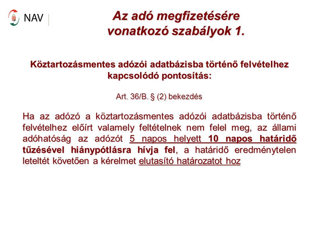 Az adó megfizetésére vonatkozó szabályok 1.