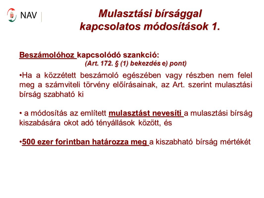 Mulasztási bírsággal kapcsolatos módosítások 1.