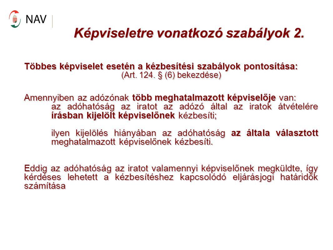 Képviseletre vonatkozó szabályok 2.
