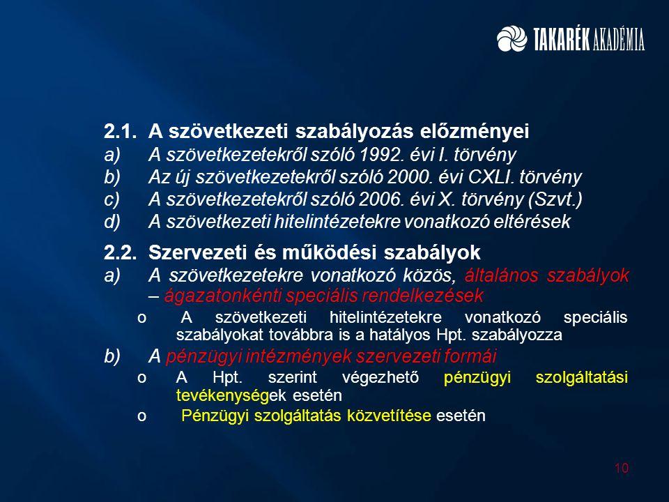 2.1. A szövetkezeti szabályozás előzményei