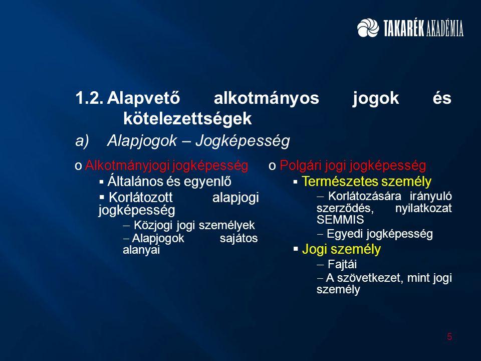1.2. Alapvető alkotmányos jogok és kötelezettségek