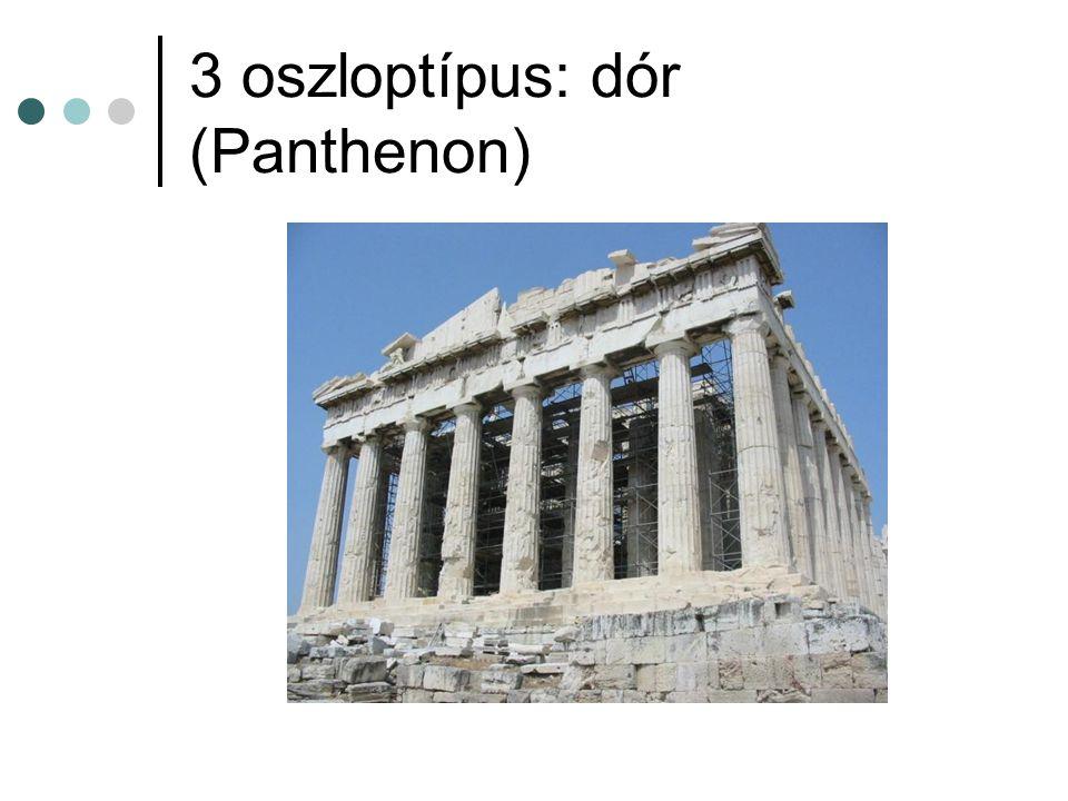 3 oszloptípus: dór (Panthenon)