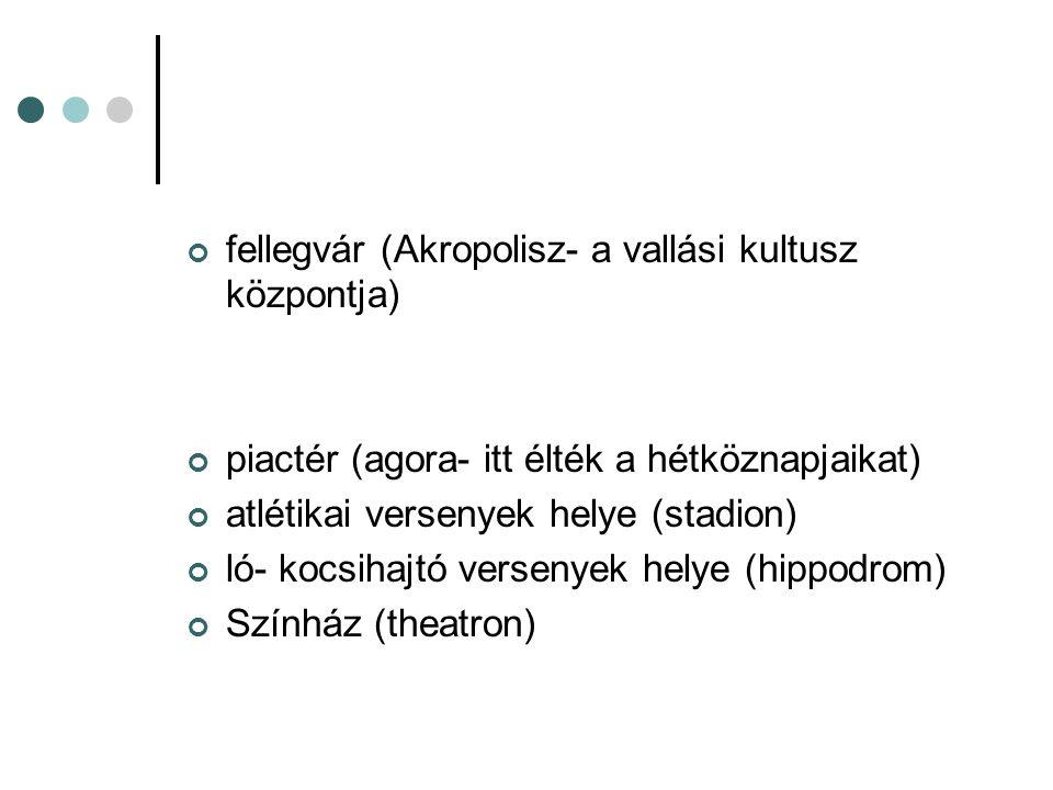fellegvár (Akropolisz- a vallási kultusz központja)