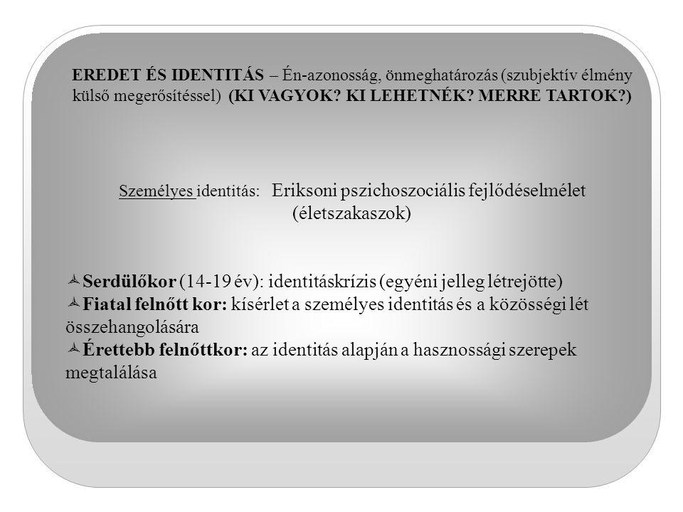 Serdülőkor (14-19 év): identitáskrízis (egyéni jelleg létrejötte)