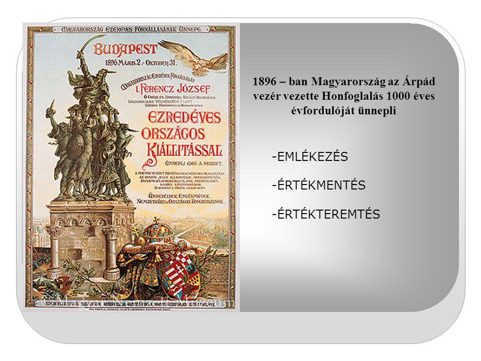 1896 – ban Magyarország az Árpád vezér vezette Honfoglalás 1000 éves évfordulóját ünnepli