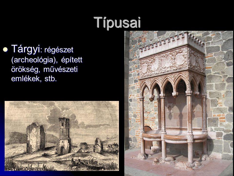 Típusai Tárgyi: régészet (archeológia), épített örökség, művészeti emlékek, stb.