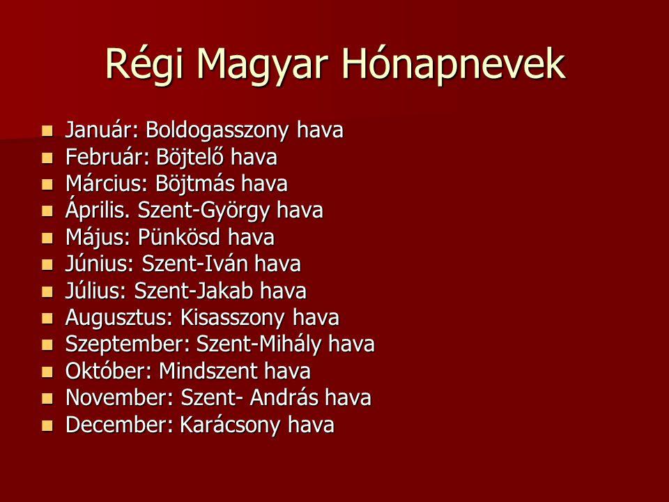Régi Magyar Hónapnevek