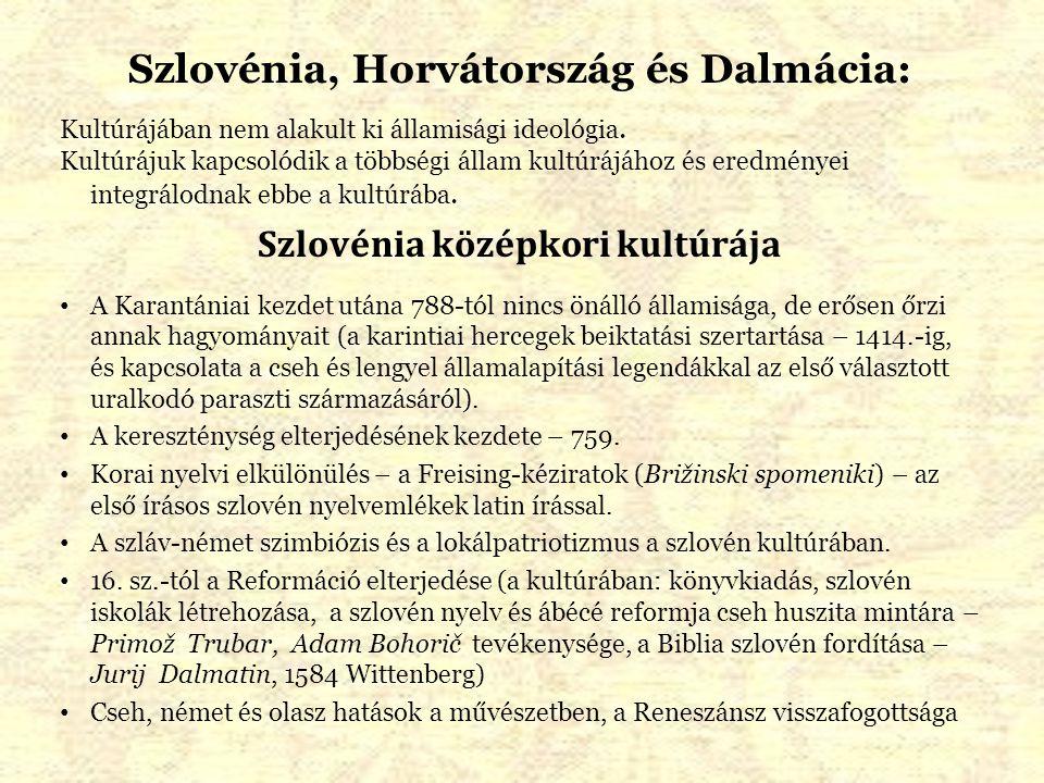 Szlovénia, Horvátország és Dalmácia: Szlovénia középkori kultúrája
