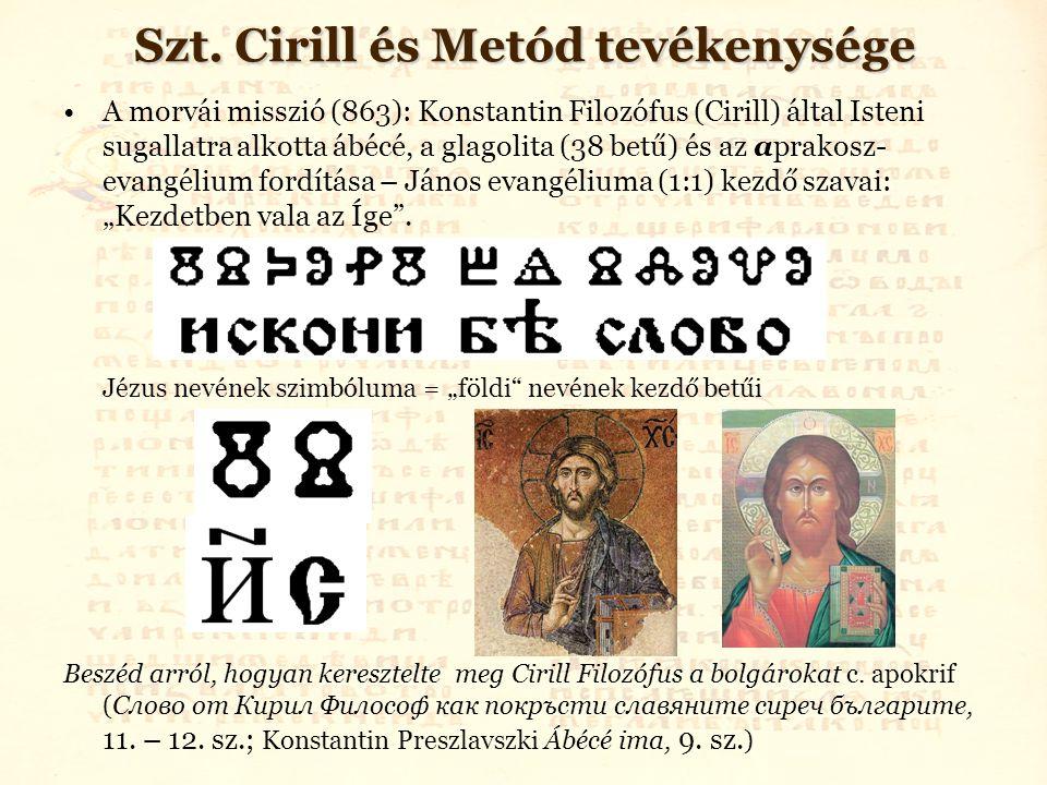 Szt. Cirill és Metód tevékenysége