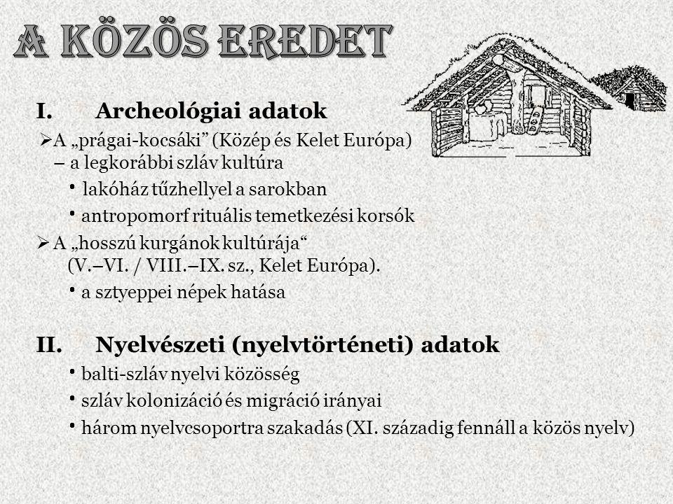 A közös eredet Archeológiai adatok Nyelvészeti (nyelvtörténeti) adatok