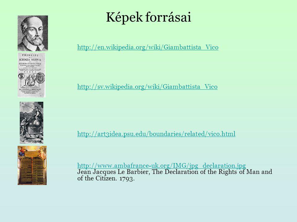 Képek forrásai http://en.wikipedia.org/wiki/Giambattista_Vico