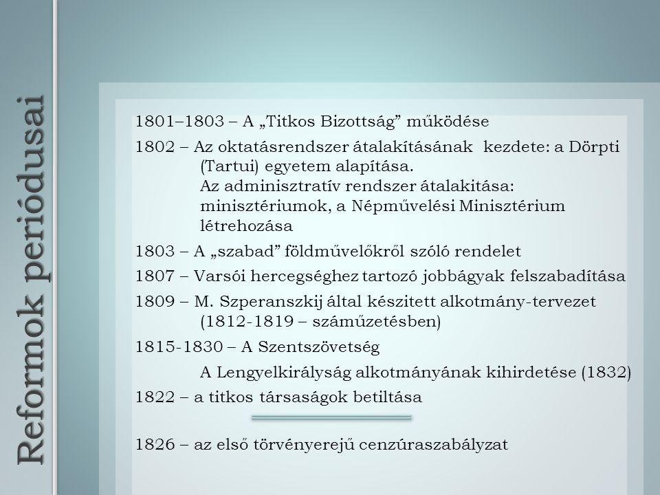 """Reformok periódusai 1801–1803 – A """"Titkos Bizottság működése"""