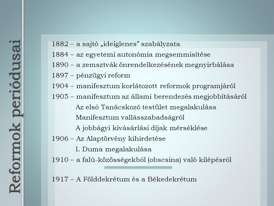 "Reformok periódusai 1882 – a sajtó ""ideiglenes szabályzata"