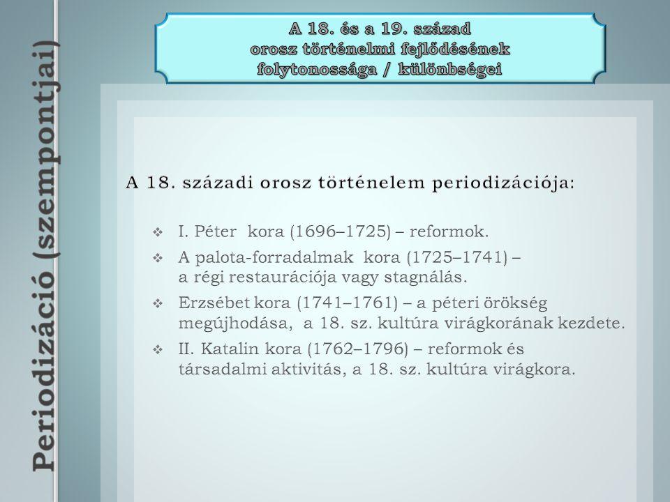 A 18. századi orosz történelem periodizációja: