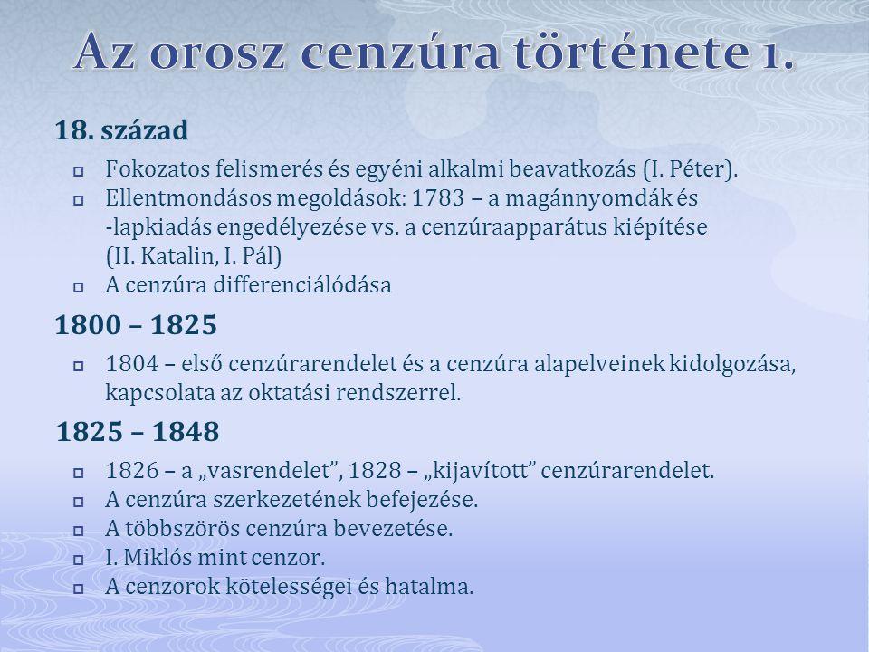 Az orosz cenzúra története 1.
