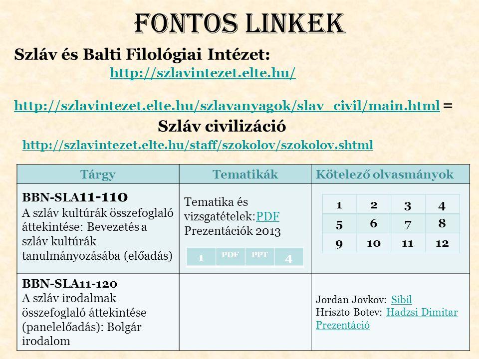 Fontos linkek Szláv és Balti Filológiai Intézet: http://szlavintezet.elte.hu/ http://szlavintezet.elte.hu/szlavanyagok/slav_civil/main.html =