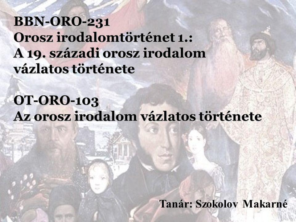 BBN-ORO-231 Orosz irodalomtörténet 1. : A 19