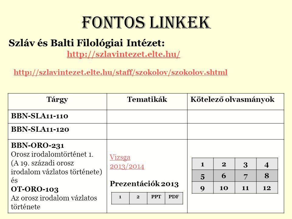 Fontos linkek Szláv és Balti Filológiai Intézet: http://szlavintezet.elte.hu/ http://szlavintezet.elte.hu/staff/szokolov/szokolov.shtml.