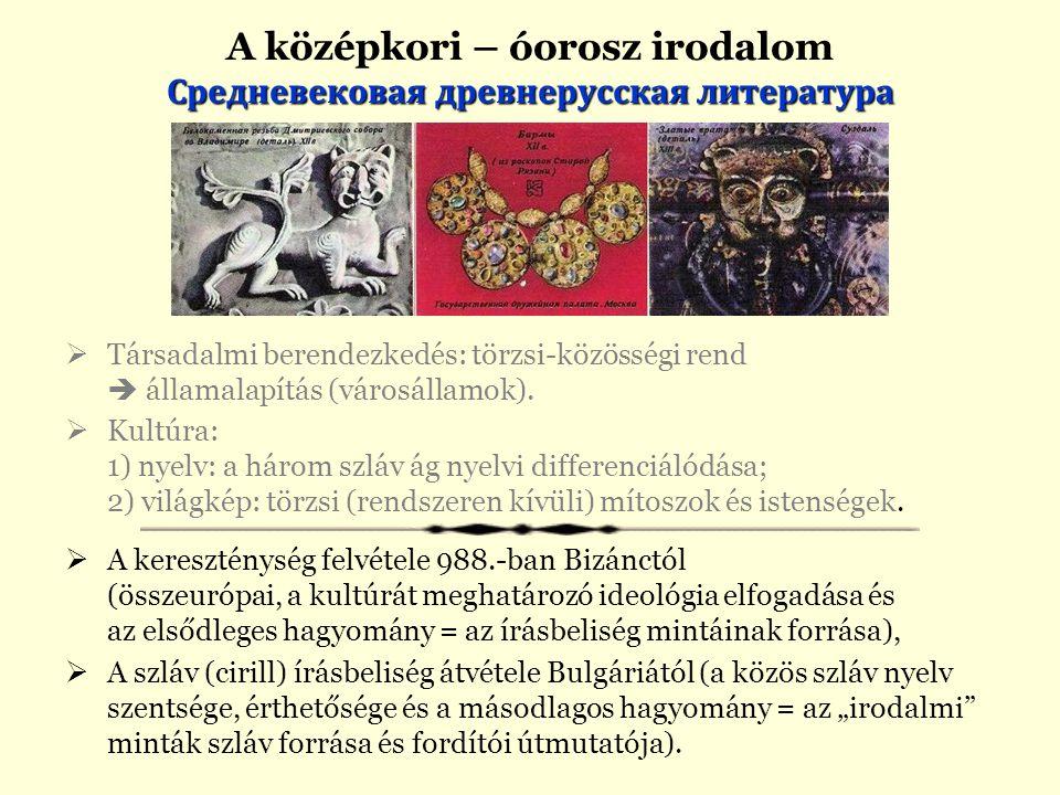 A középkori – óorosz irodalom Средневековая древнерусская литература